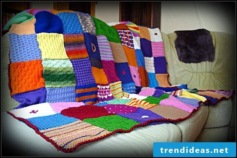 Sew on patchwork quilt made of wool