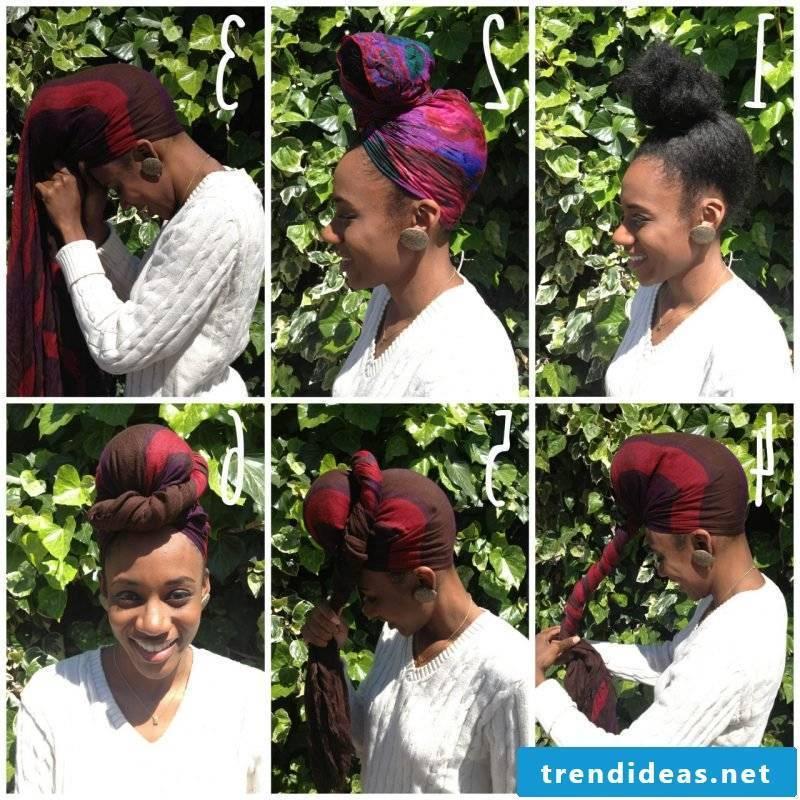 Headscarf tie footsteps