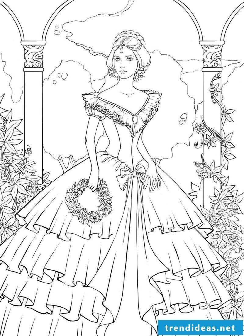 Free coloring pictures for those who still feel princesses
