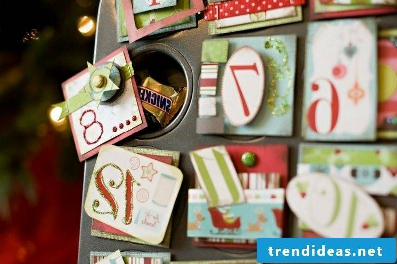 Advent calendar baking pan original crafting ideas Christmas