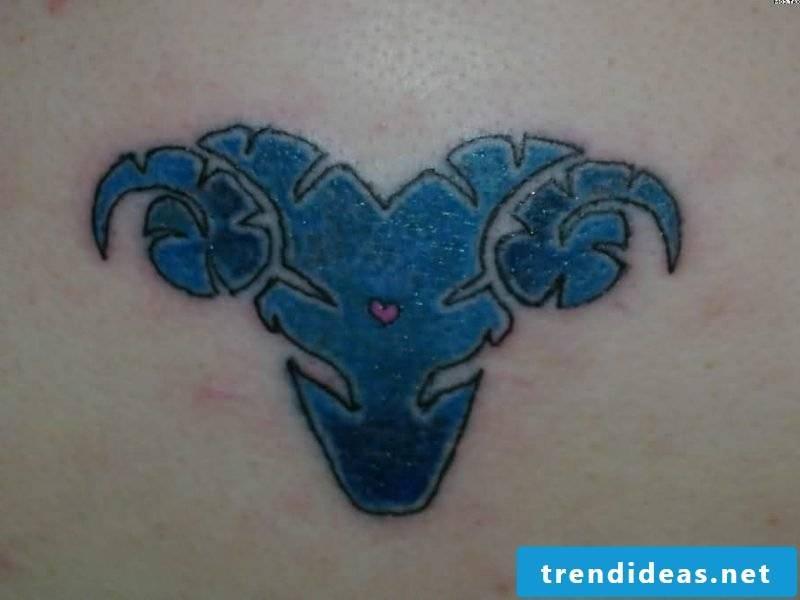 aries tattoo blue aries