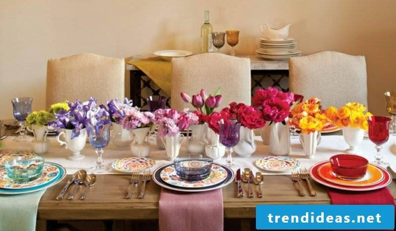 Floral arrangements in rainbow colors gorgeous look