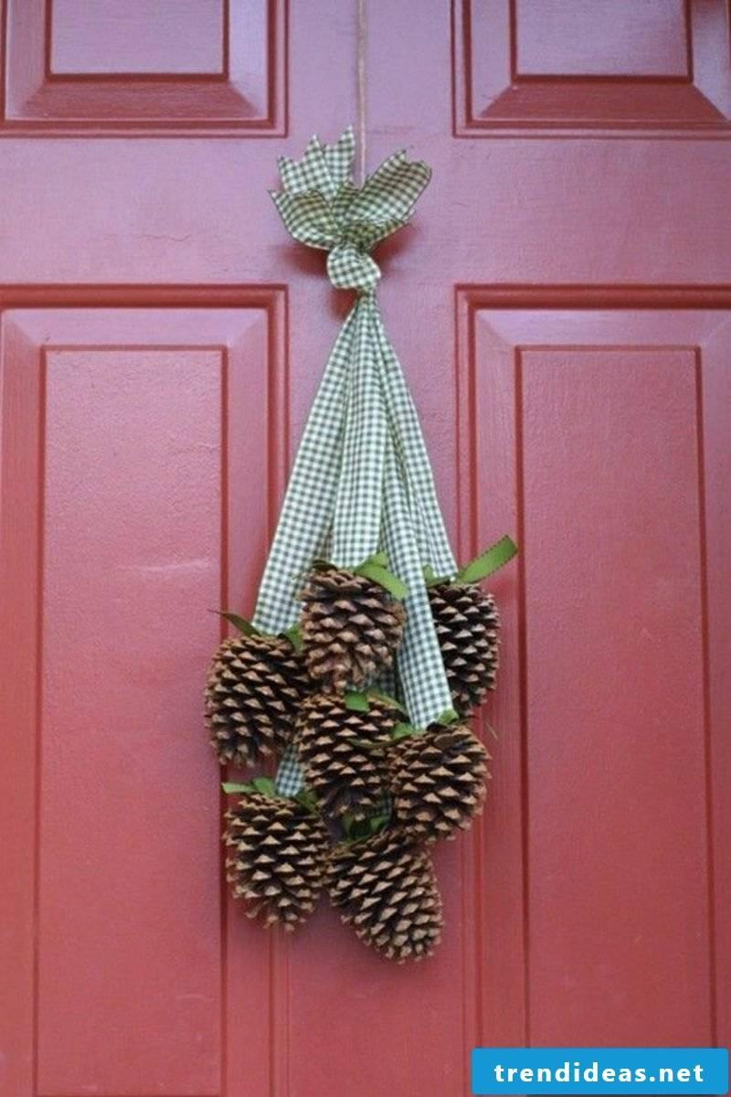 Autumn decoration for the entrance pine cones