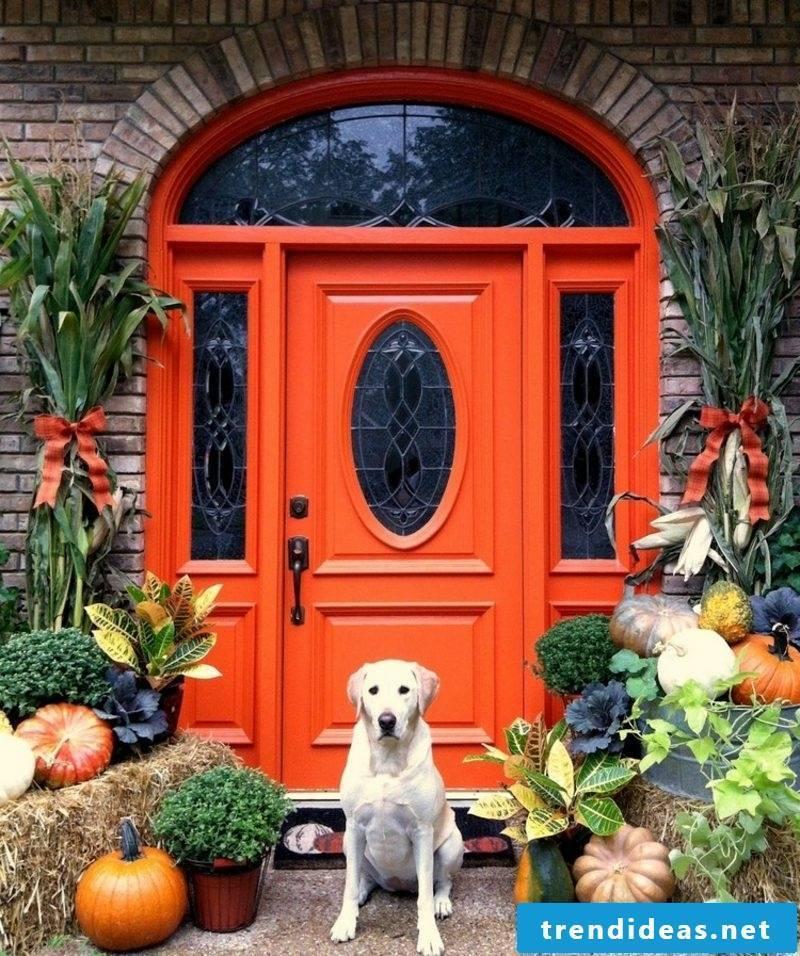 make stylish autumn decoration for the entrance itself