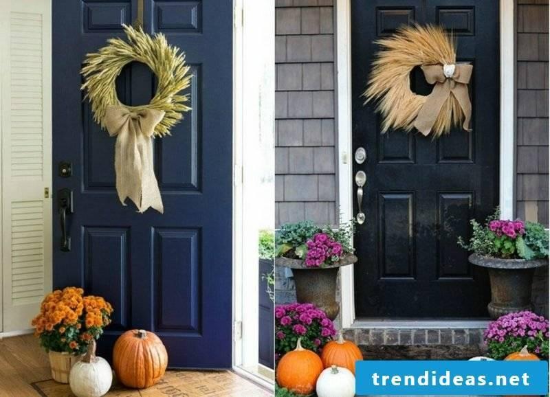 Autumn decoration for the door entrance Türkranz wheat