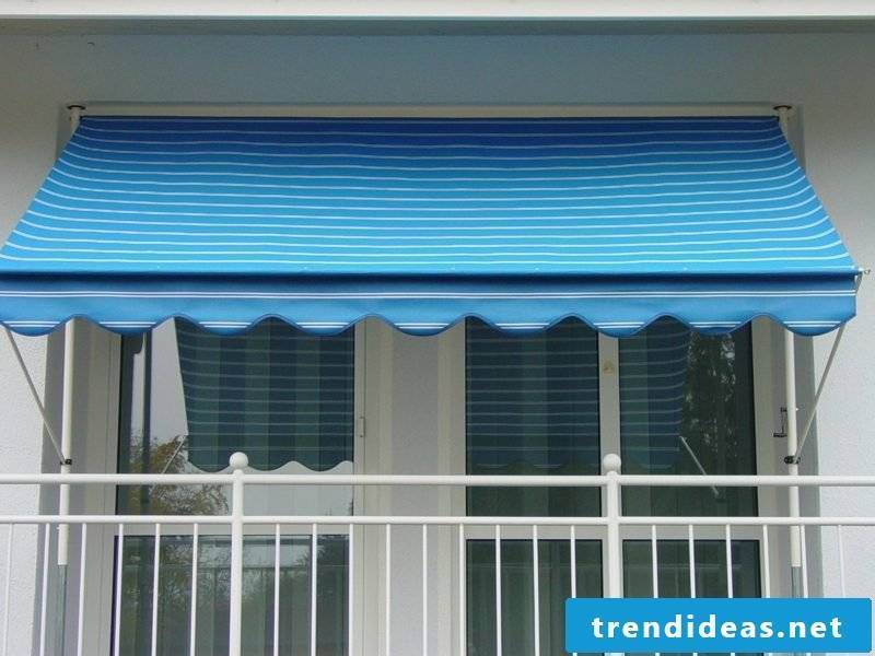 Balcony awning in blue