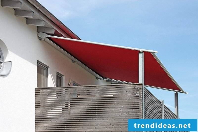Balcony awning in red