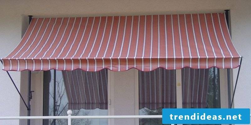 Balcony awning red and white stripes