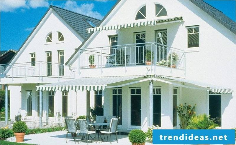 Balcony and terrace with awnings