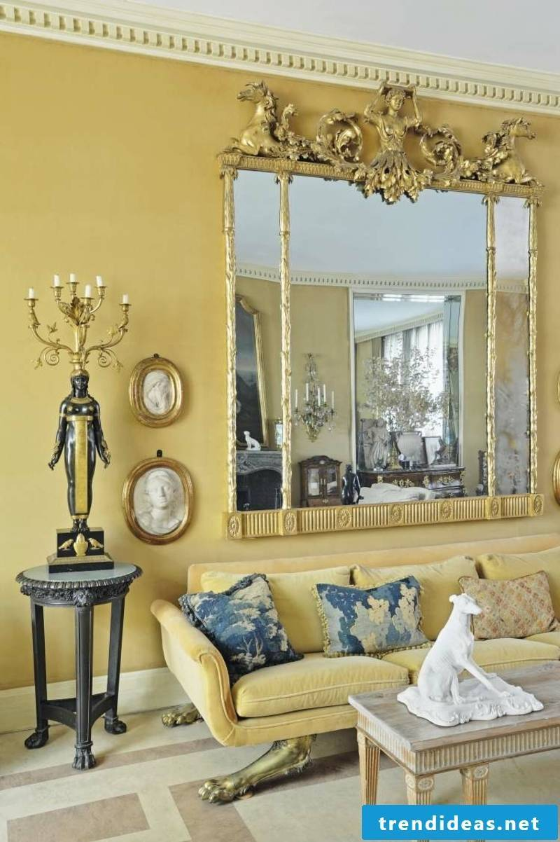 Baroque furniture living room in mustard yellow