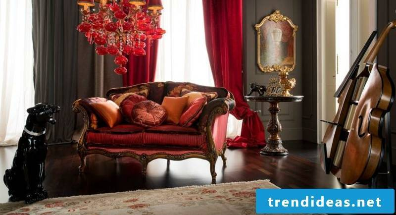 Baroque furniture in burgundy