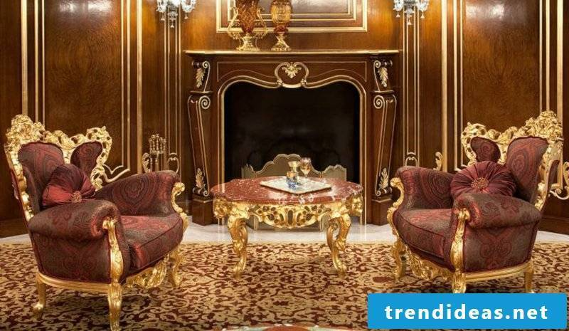Baroque furniture two original armchairs with gold accents