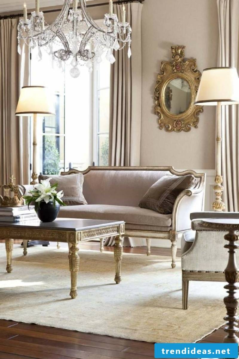 Baroque style living room in pastel colors