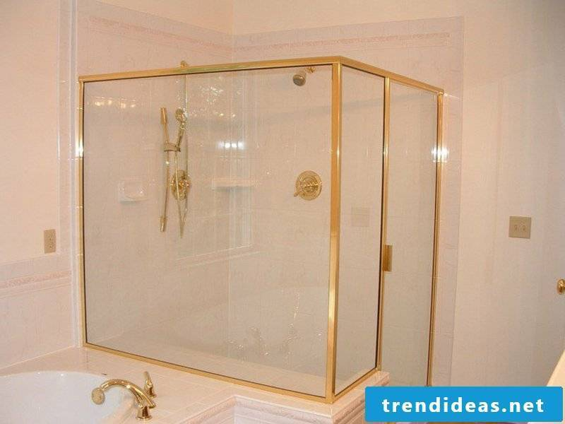 golden glass shower cabin