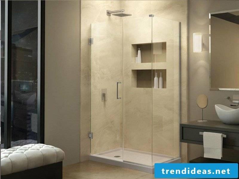 small illuminated glass shower cabin
