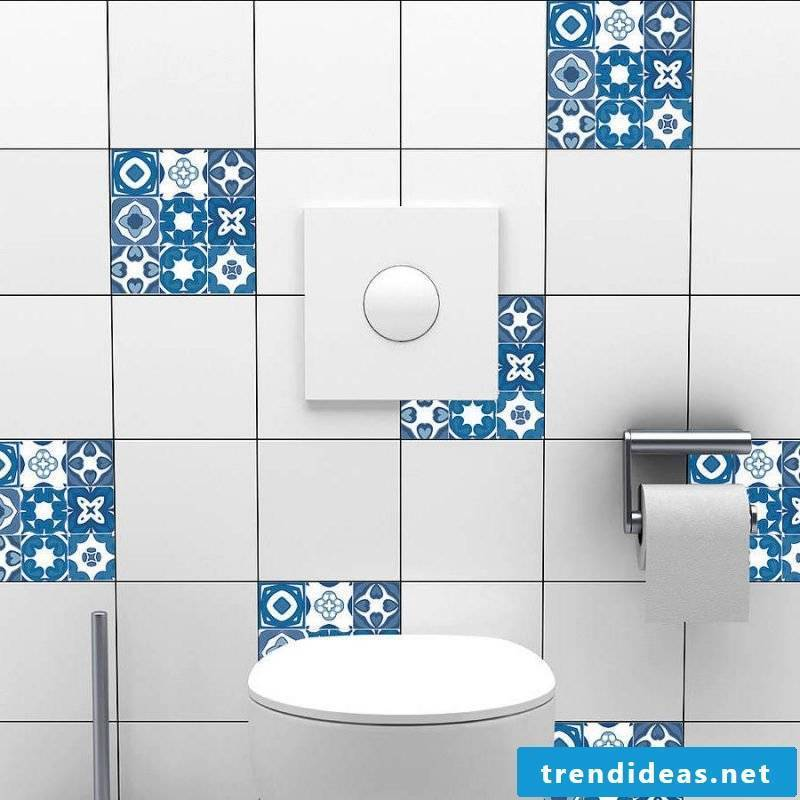 Tile sticker for bath blue