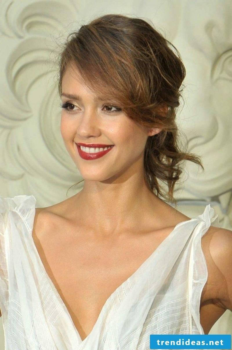 chocolate brown hair updo elegant Jessica Alba