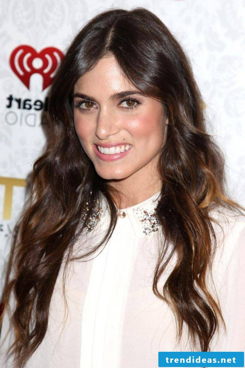 dark brown hair with bright lace curly long Nikki Reed