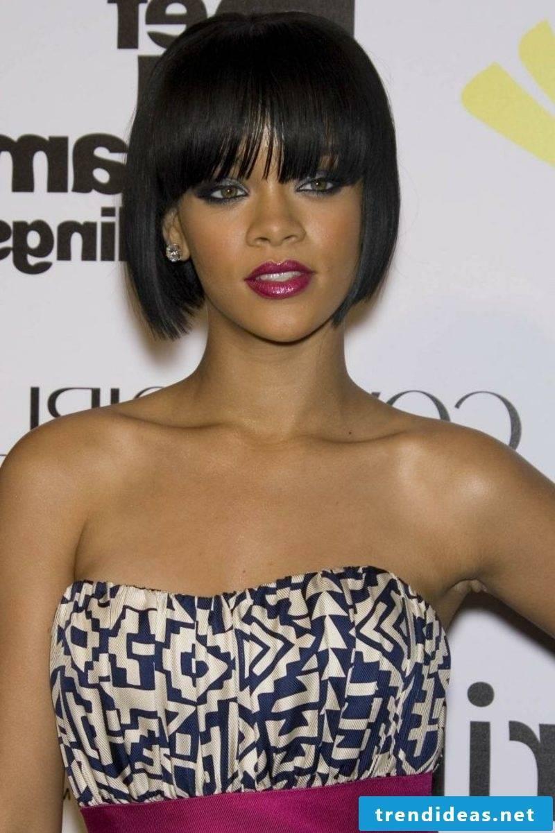 dark brown hair Rihanna elegant bob haircut