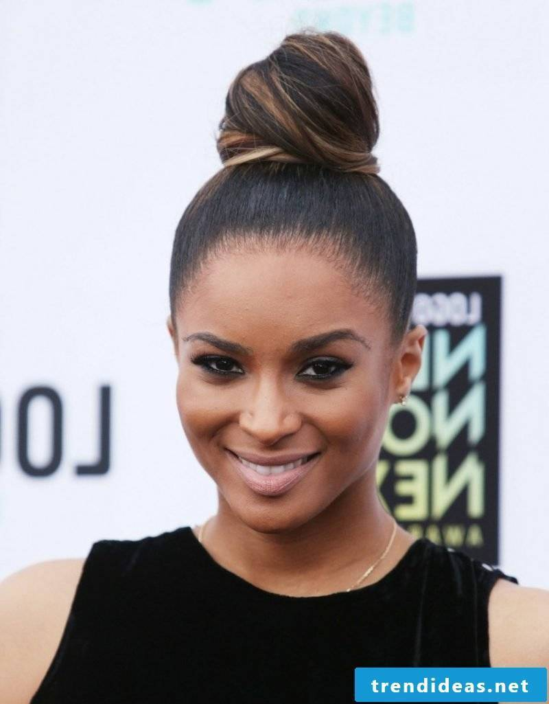 Haircolor Brown Ciara Updo Dutt on the top of the head