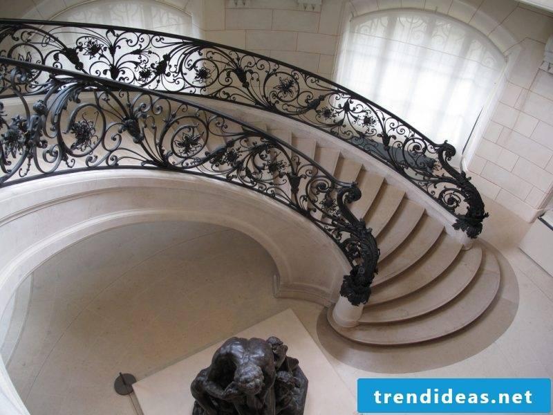 Concrete staircase unique railings