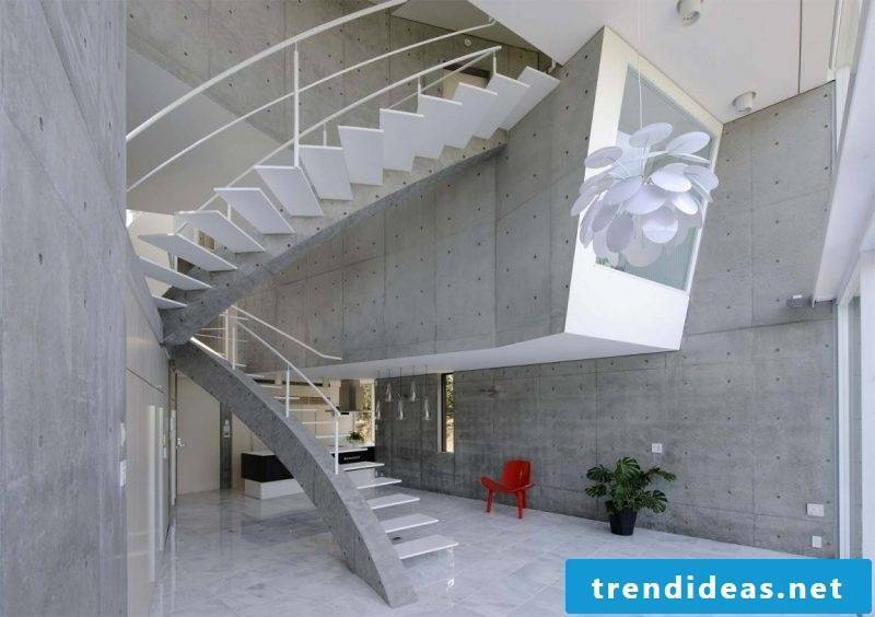 Concrete staircase wrapped