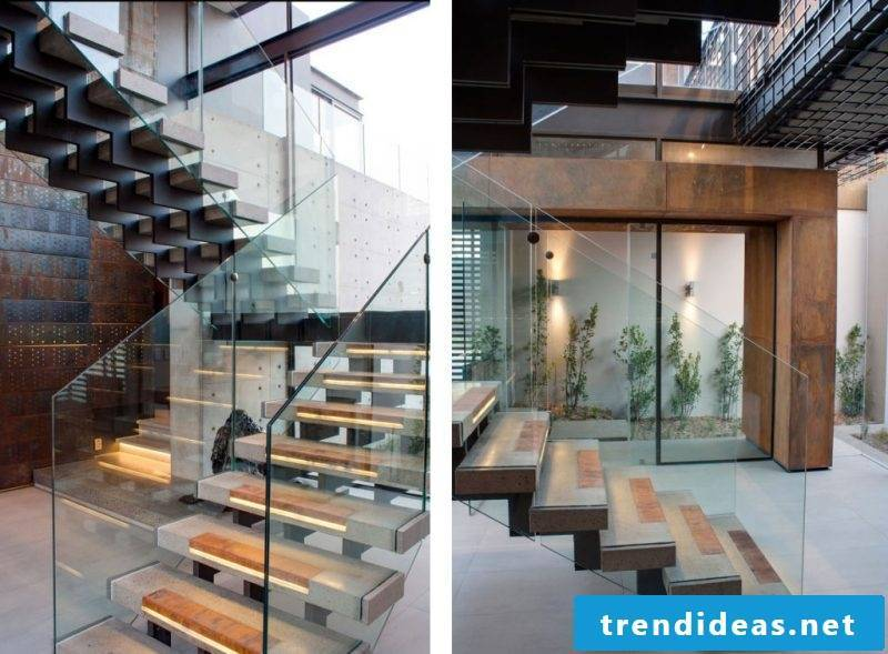 Concrete staircase lighting