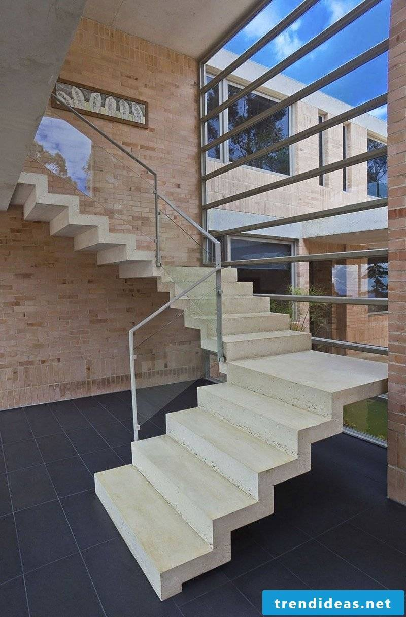 Concrete stair with glass railing