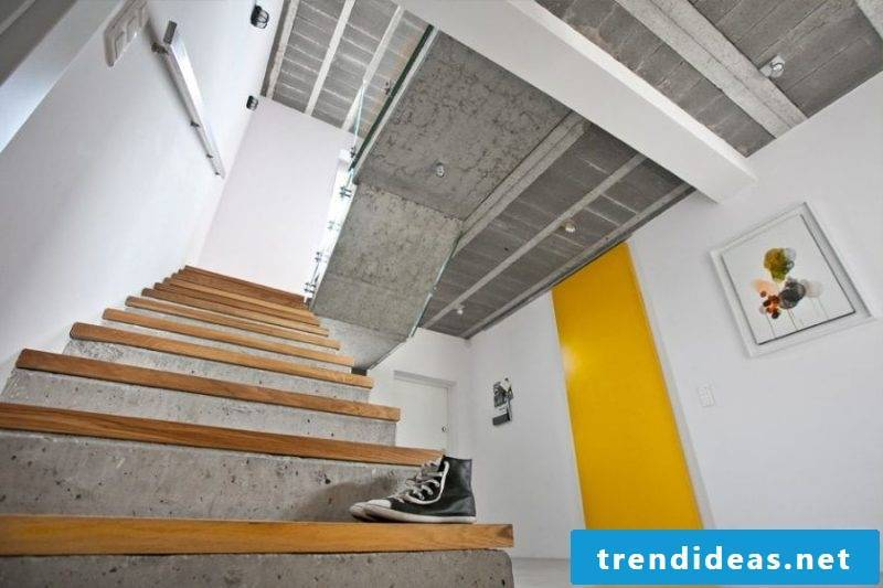 Concrete staircase combined with solid wood