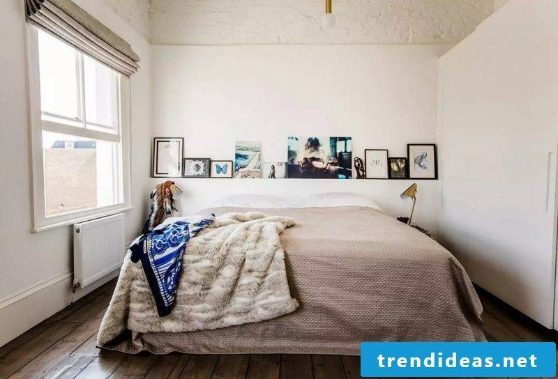 Bed without headboard looks cuddly and comfortable