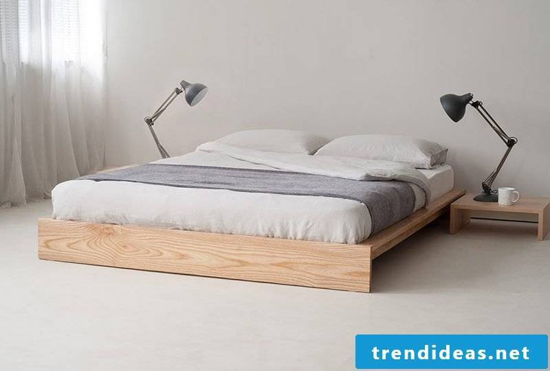 Bed without headboard made of solid wood