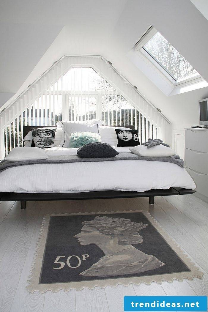 modern bedroom fashion white carpet bed deco pillow