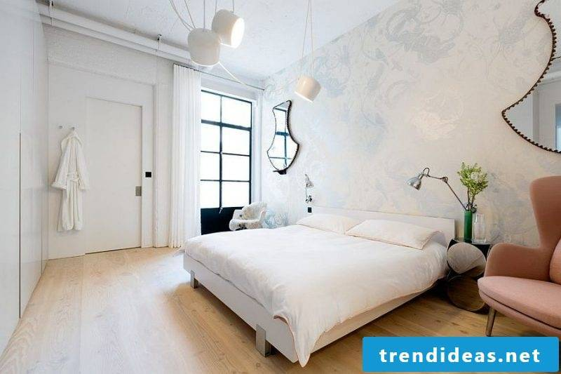 bedroom decorate home decor bed lamp armchair wall wallpaper