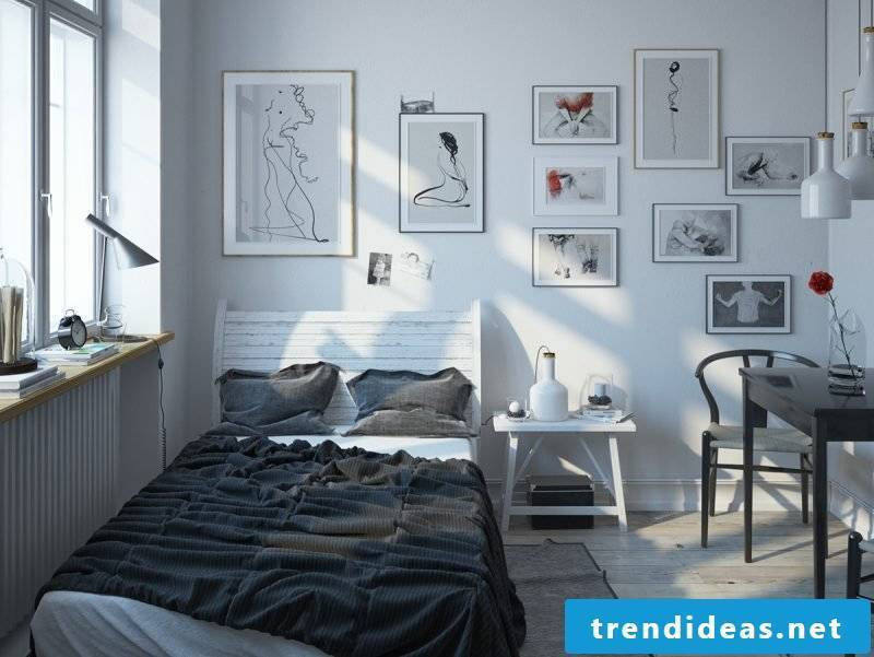 bedroom decorating ideas white gray colors wall design pictures bed wooden