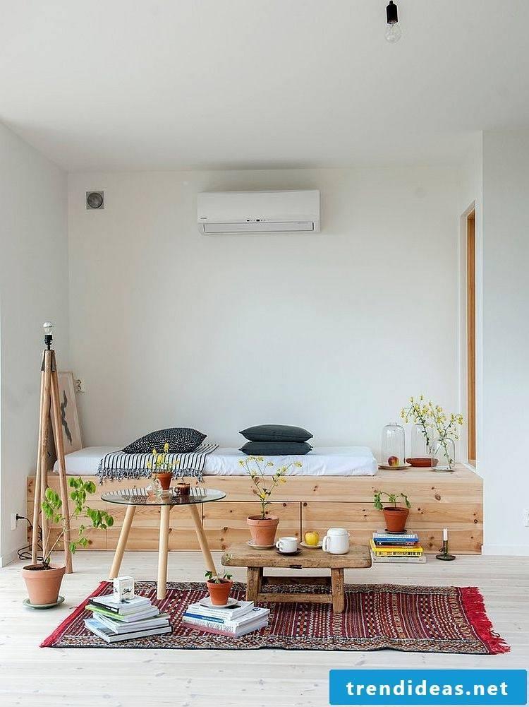 bedroom design home decor bed wooden minimalism scandinavian style