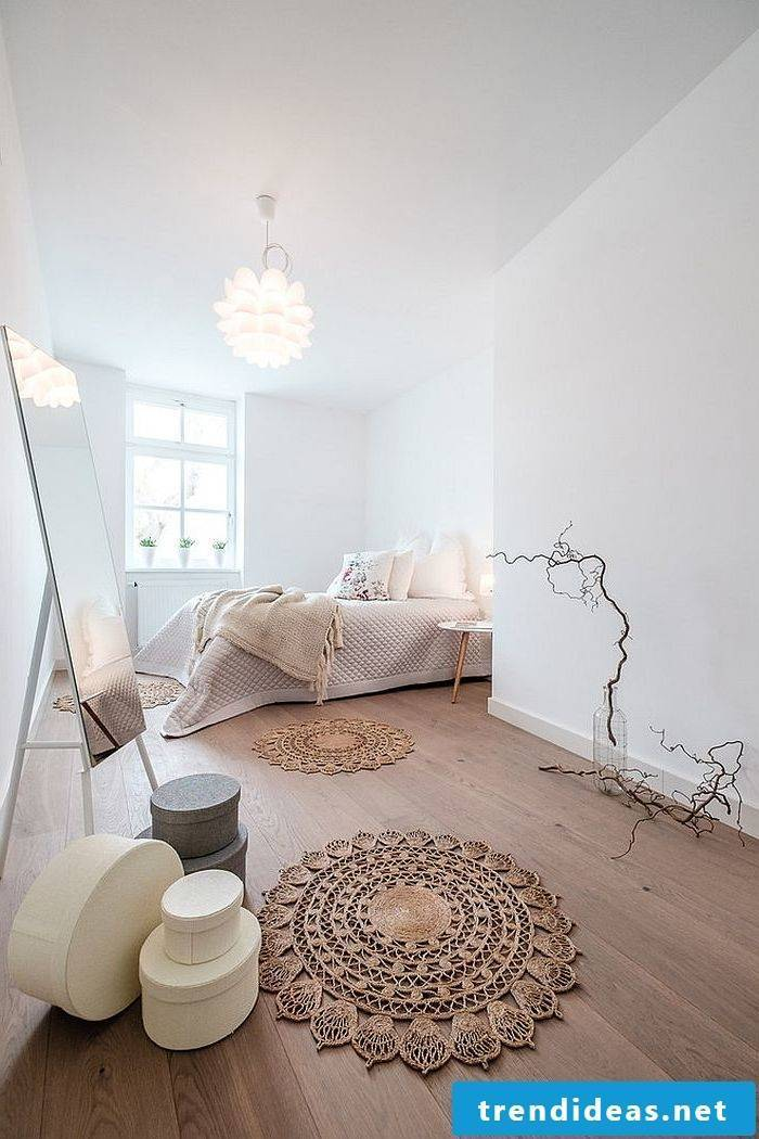 bedroom design ideas bed bright colors wall design lamp