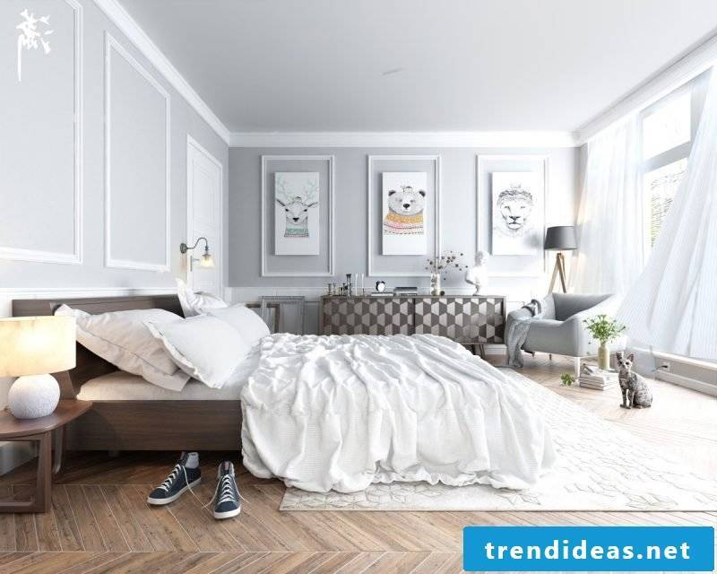 bedroom design home decor scandinavian style bed wooden wall decor carpet bedside table