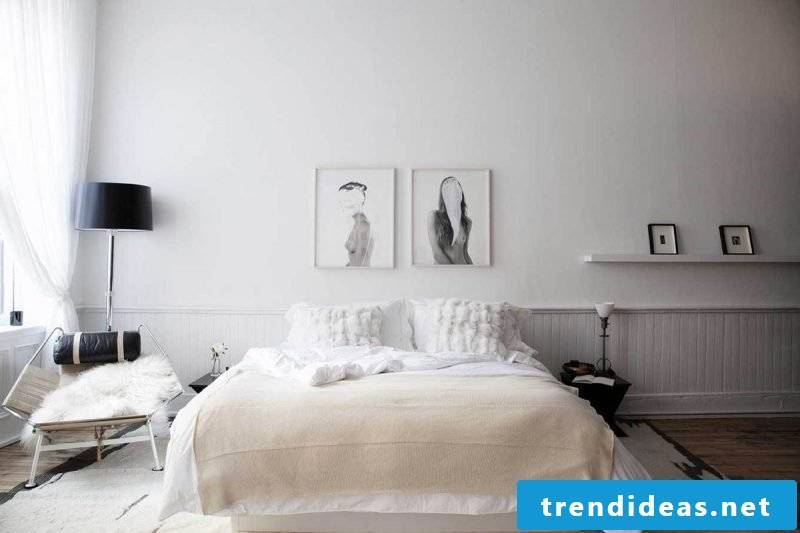 bedroom scandinavian fashion white color bed armchair