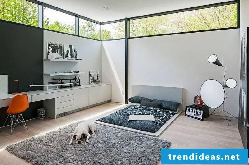 modern bedroom decorating ideas scandinavian style furniture carpet mirror light bright colors