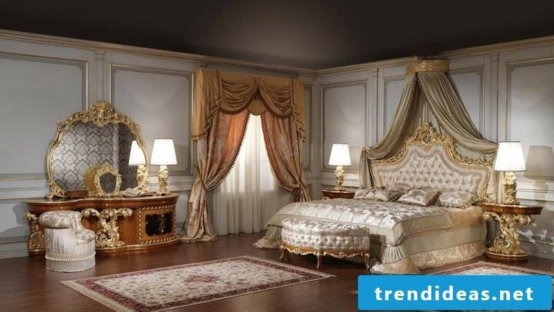 sumptuous bedroom set up in Baroque style