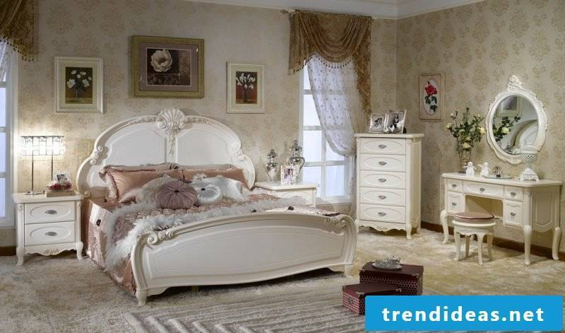 Bedroom furnish country style accents in white