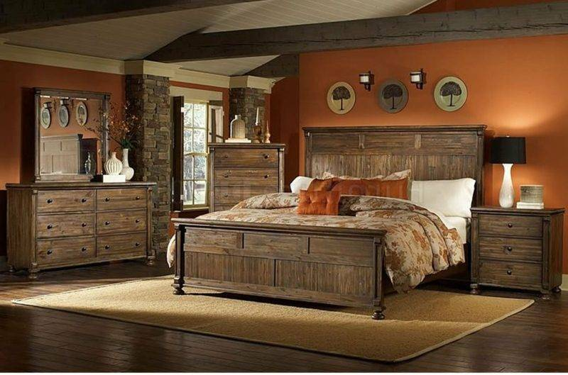 Bedroom decor wood furniture country style