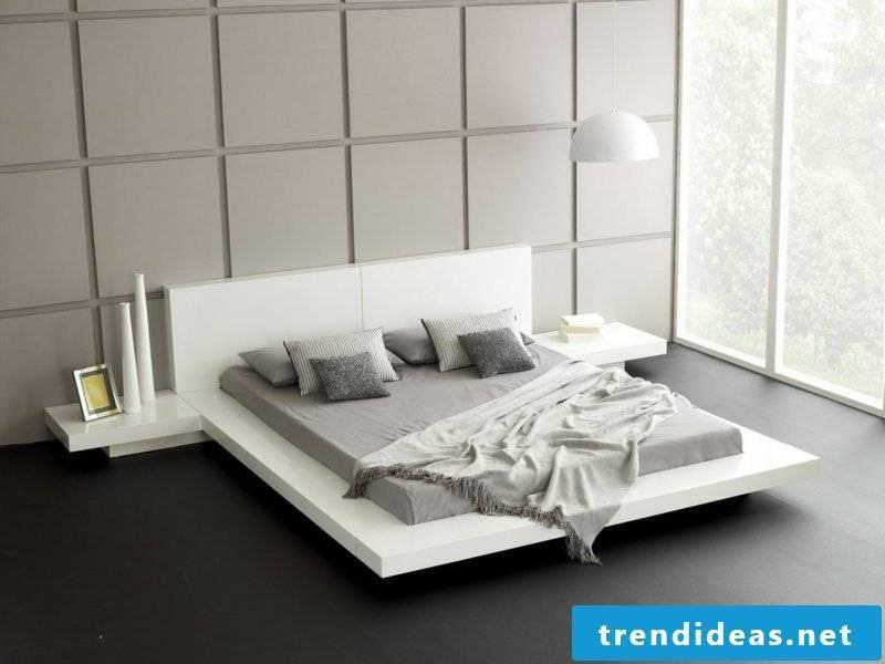 Bedroom set up minimalist geometric shapes