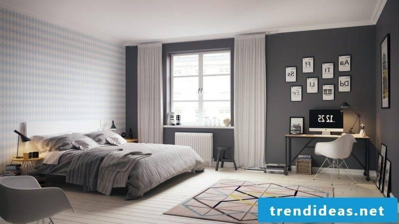 Modern bedroom set up Scandinavian geometric motifs
