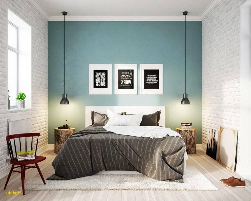 Bedroom decor Scandinavian accent wall in light blue