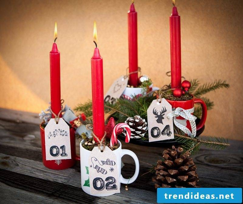 Order Advent wreath and put candles in cups