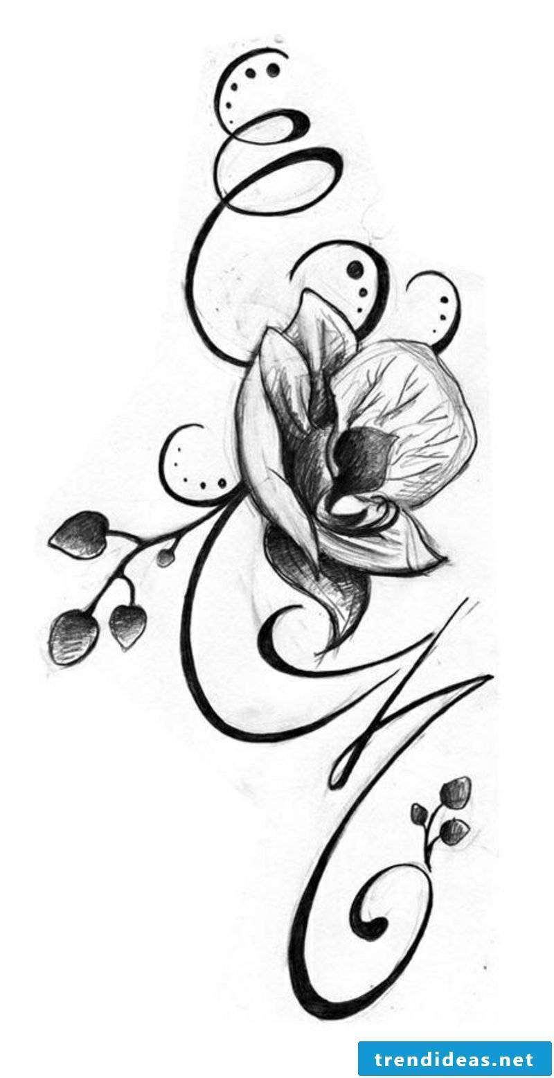 Flower tendril tattoo template orchid ideas for women
