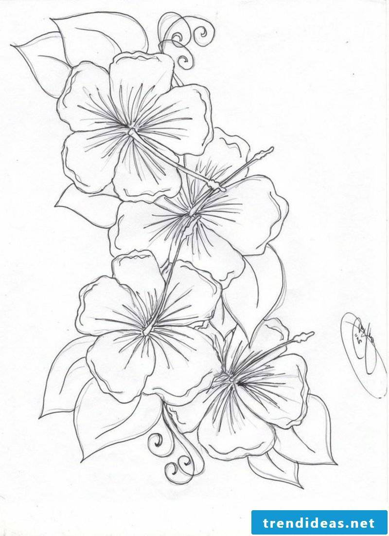 Flower tendril tattoo template