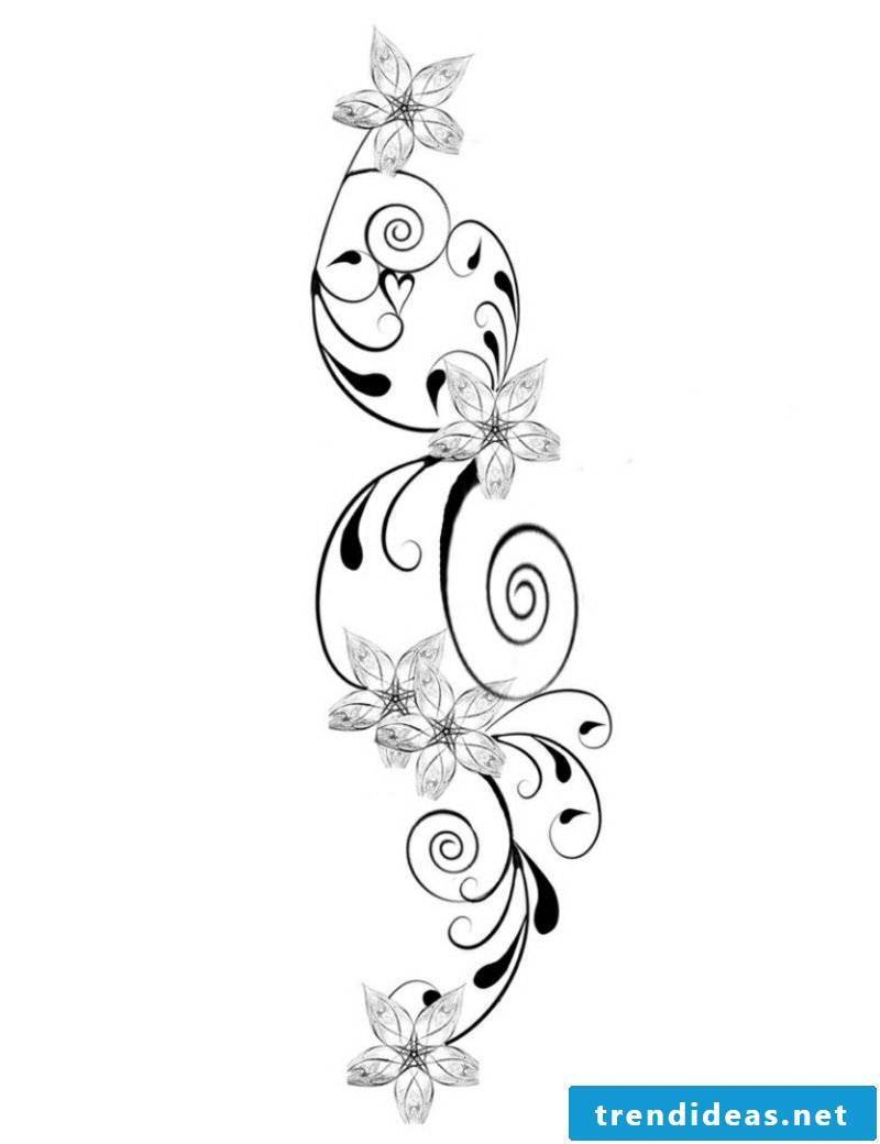 Flower tendril tattoo template original look