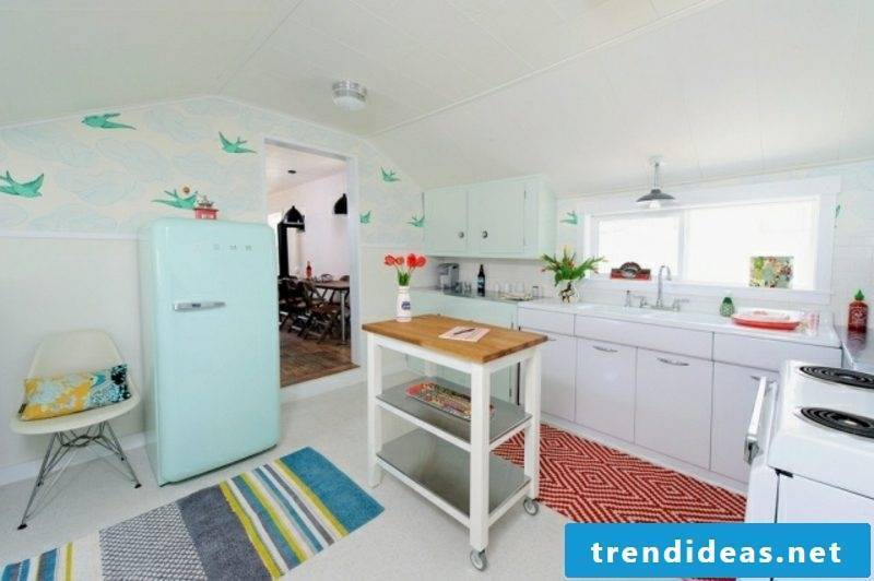 Bosch retro fridge in light blue white kitchen